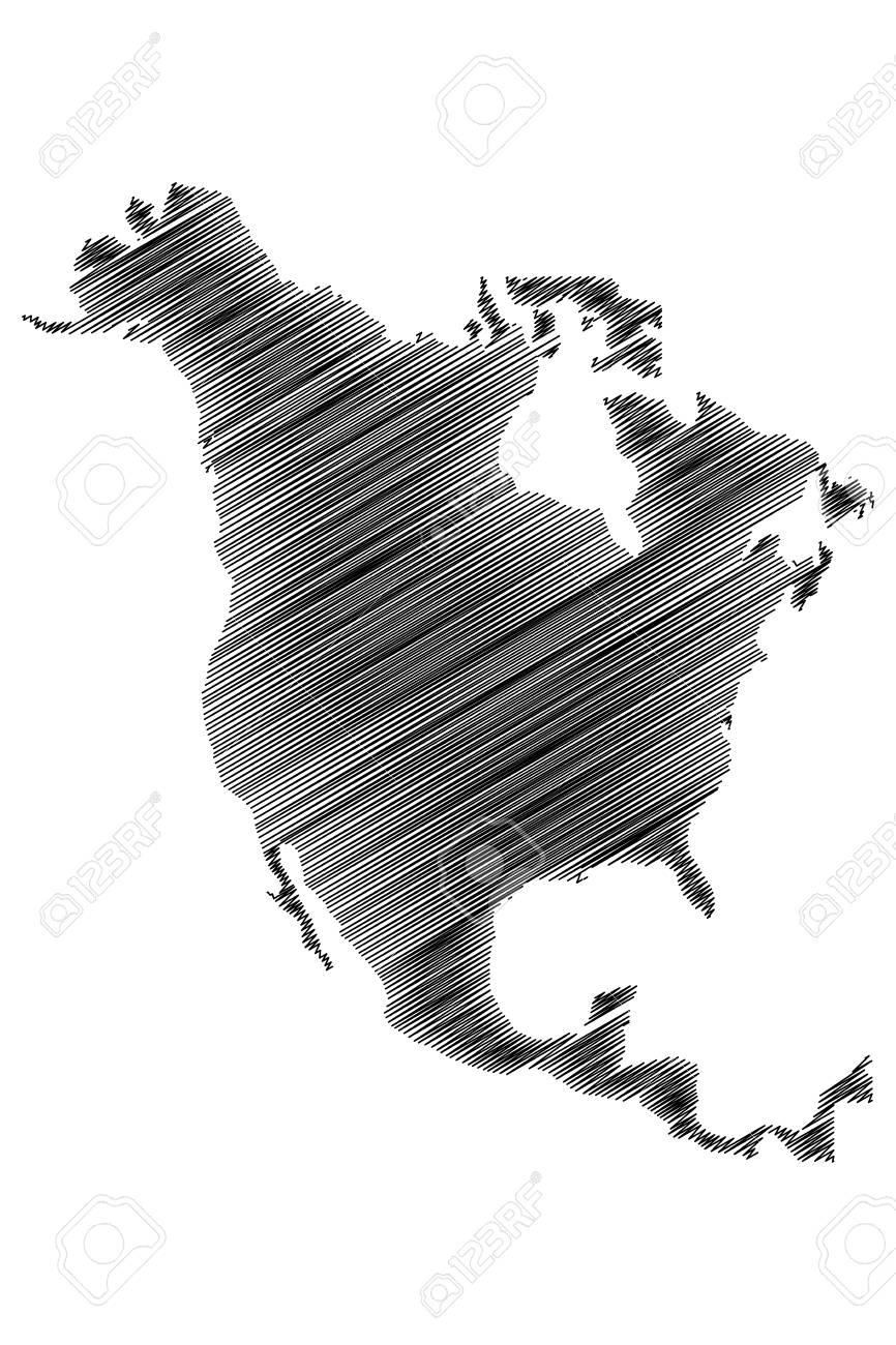 American Map Vector.North America Map Vector Illustration Scribble Sketch North