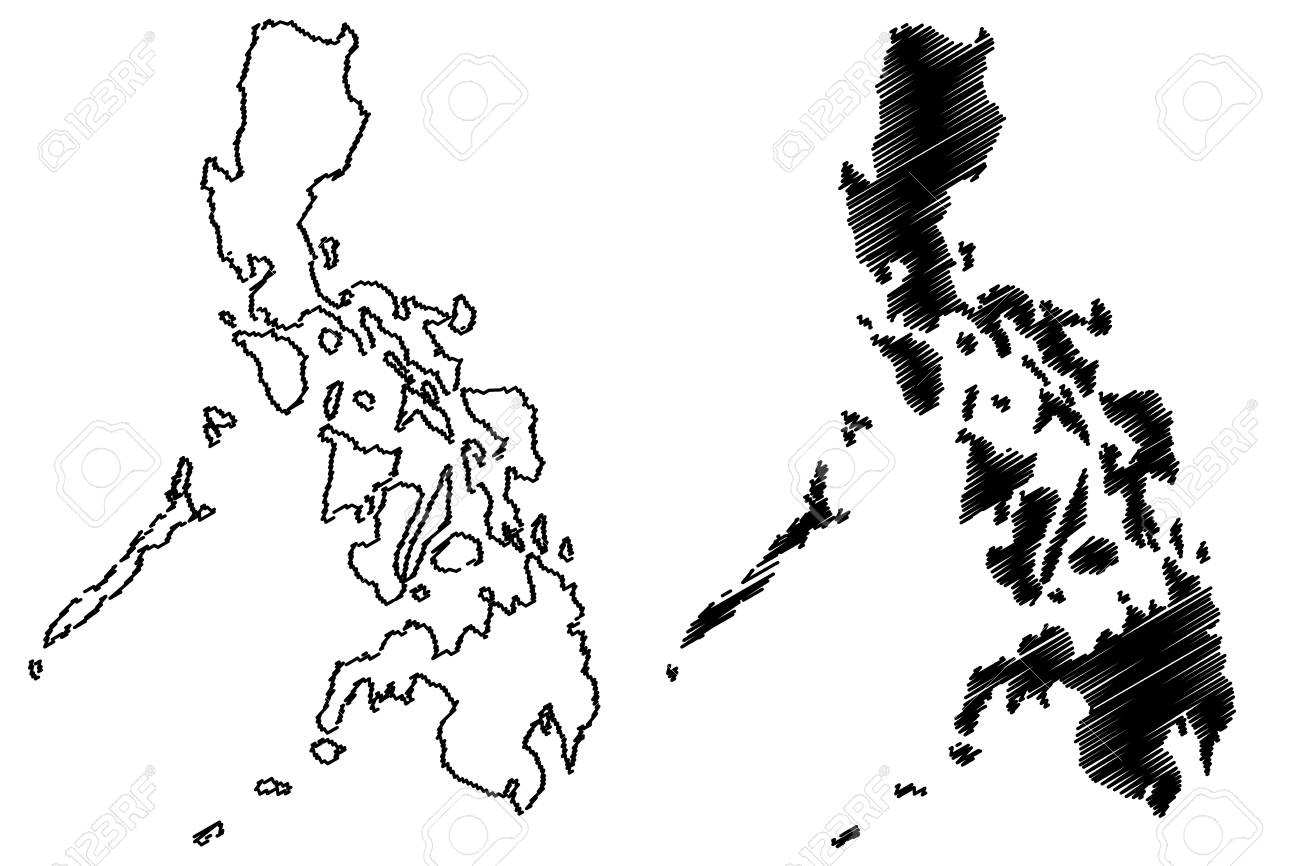 Philippine Map Sketch Philippines Map Vector Illustration, Scribble Sketch Philippines