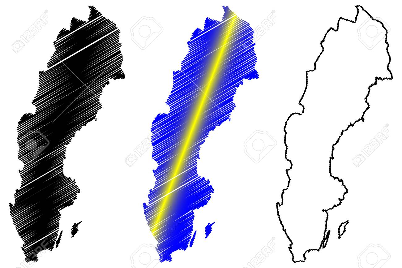 Sverige Karta Clipart.Sweden Map Vector Illustration Scribble Sketch Sweden Royalty Fri