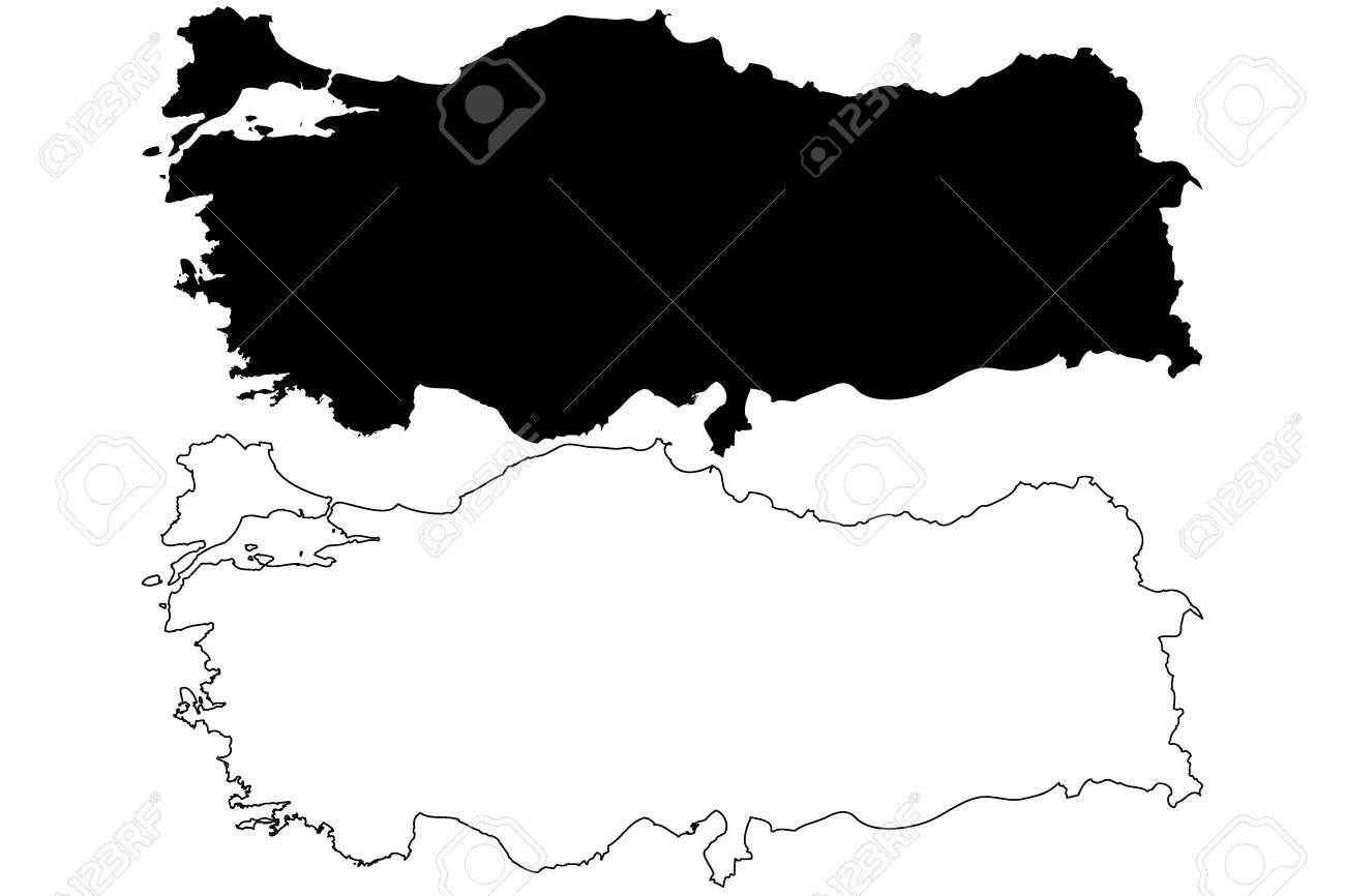 Turkey map vector illustration, scribble sketch Turkey