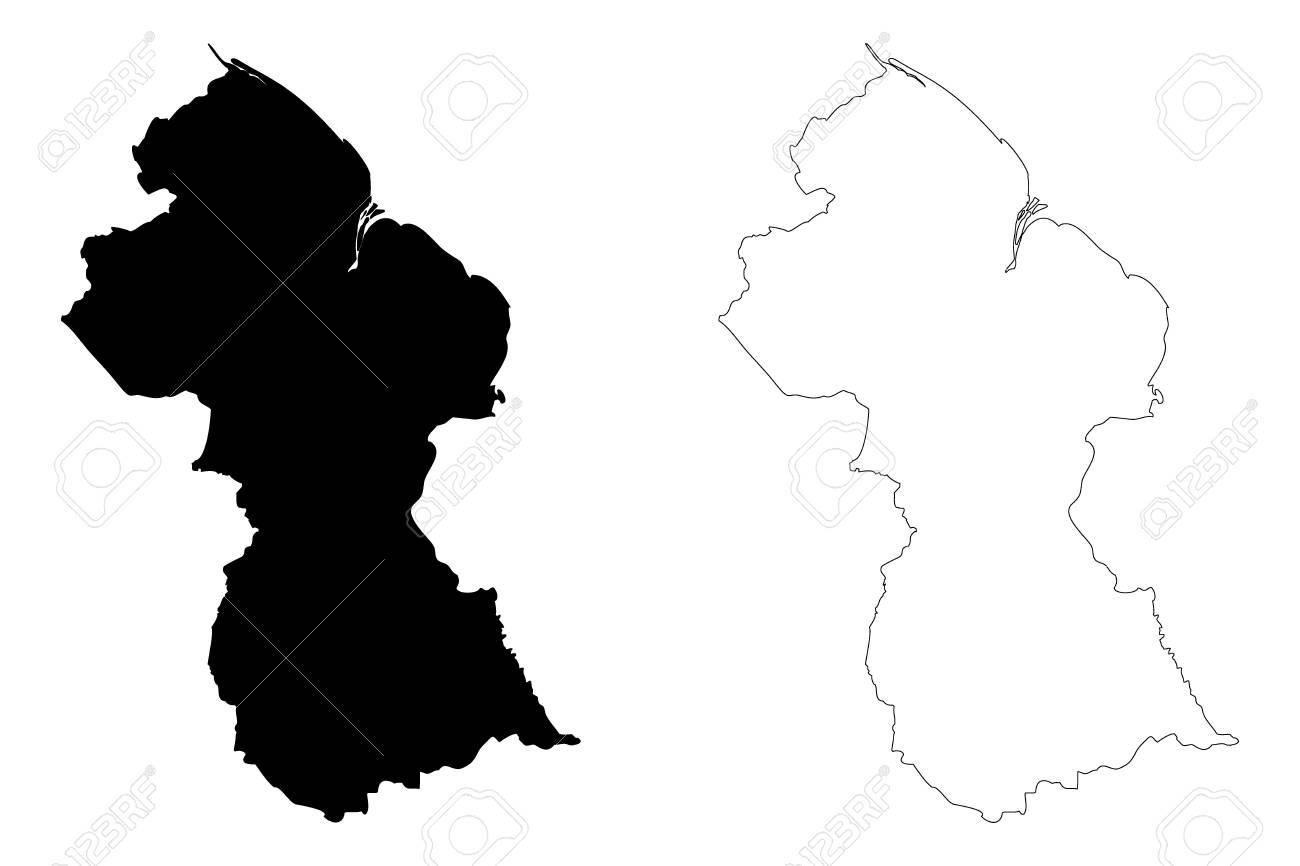 Guyana Map Vector Illustration Scribble Sketch Guyana Royalty Free