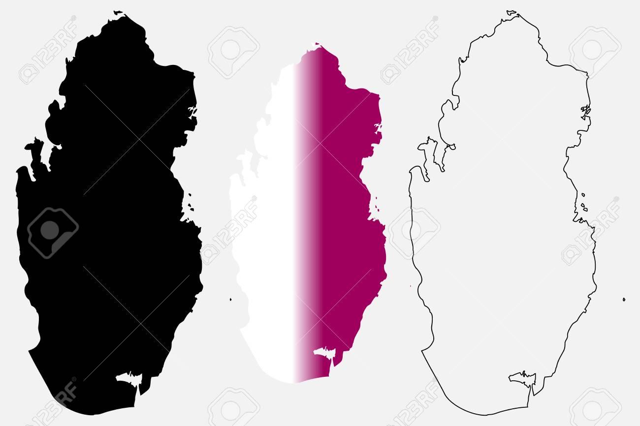 Qatar Map Vector Illustration, Scribble Sketch State Of Qatar ...