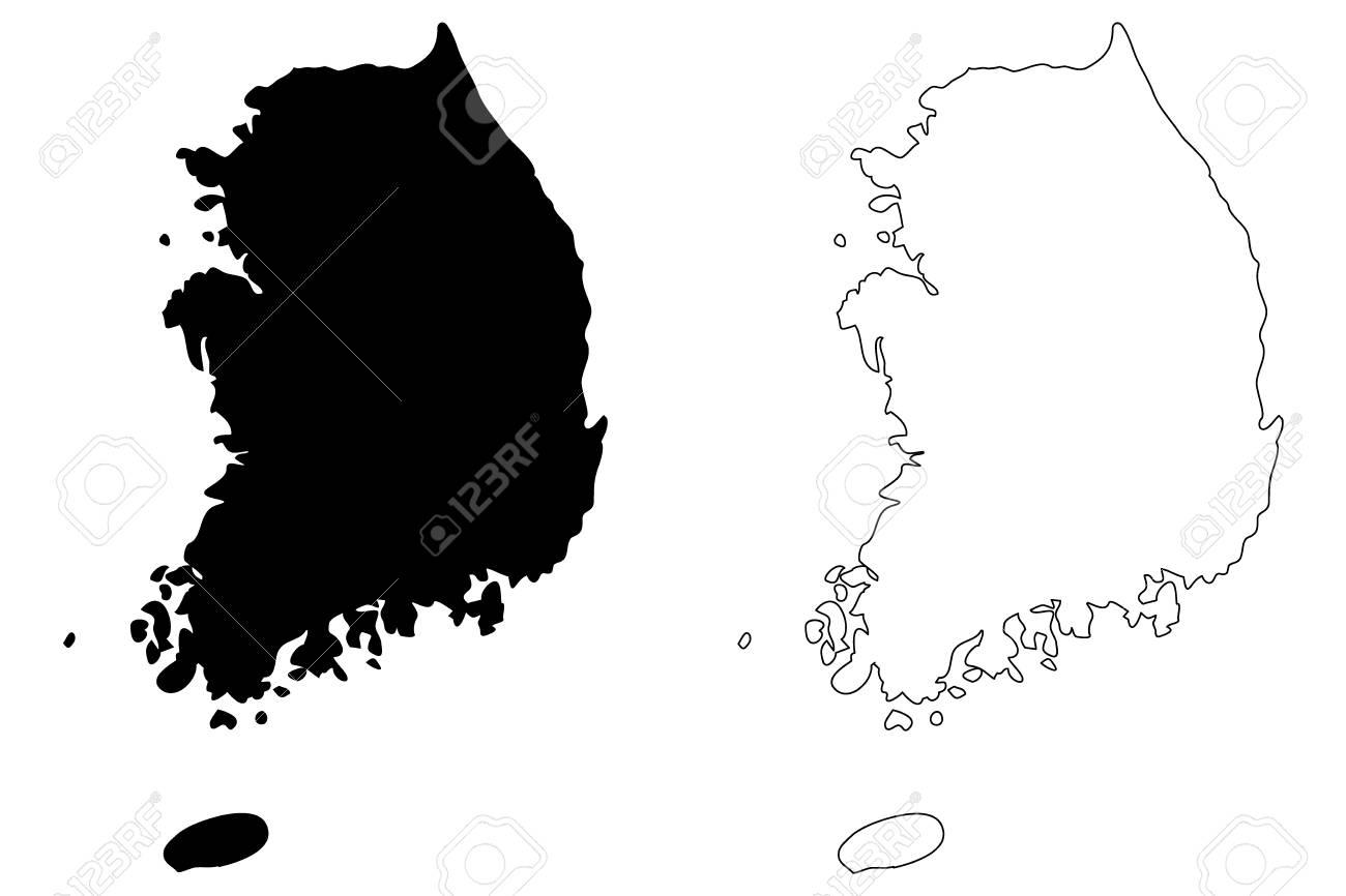 south korea map vector South Korea Map Vector Illustration Scribble Sketch Republic