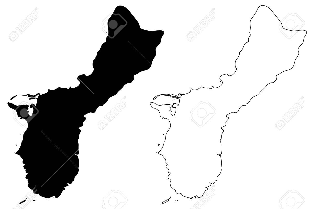 グアム地図ベクトル図、フリーハンド スケッチ グアム島