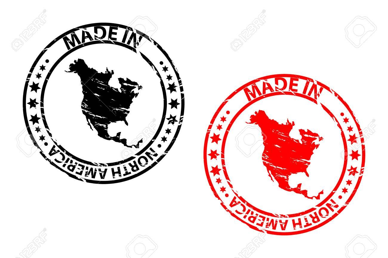 made in north america rubber stamp vector north america