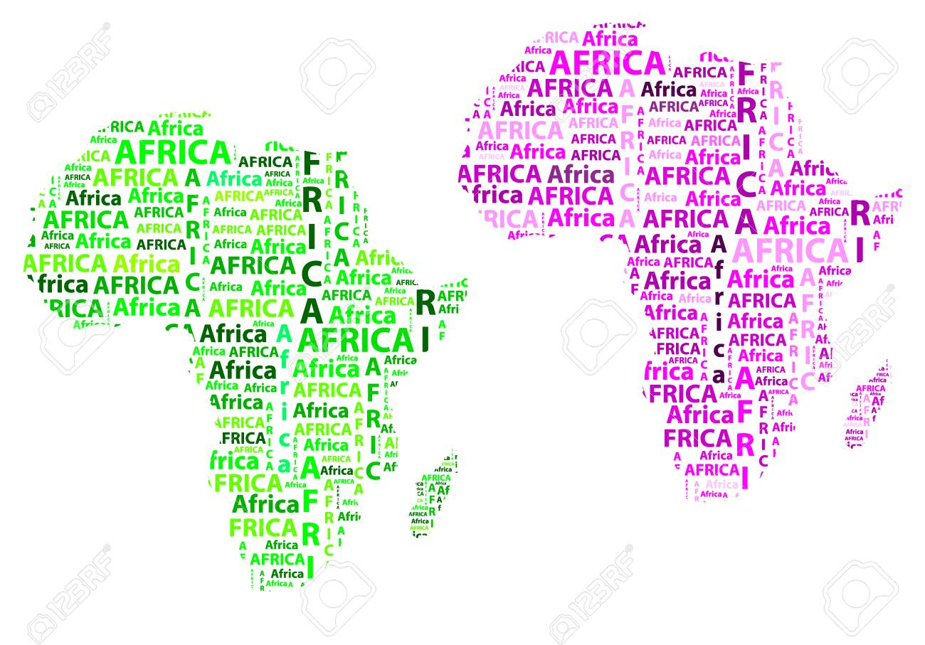 Shape Of Africa Map.Sketch African Letter Text Continent African Word In The Shape