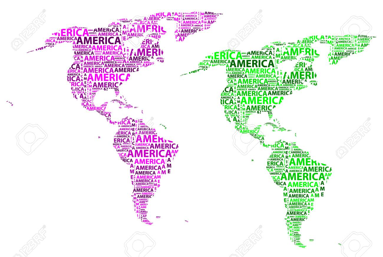 Purple America Map.Map Of Continent America In Purple And Green Vector Illustration