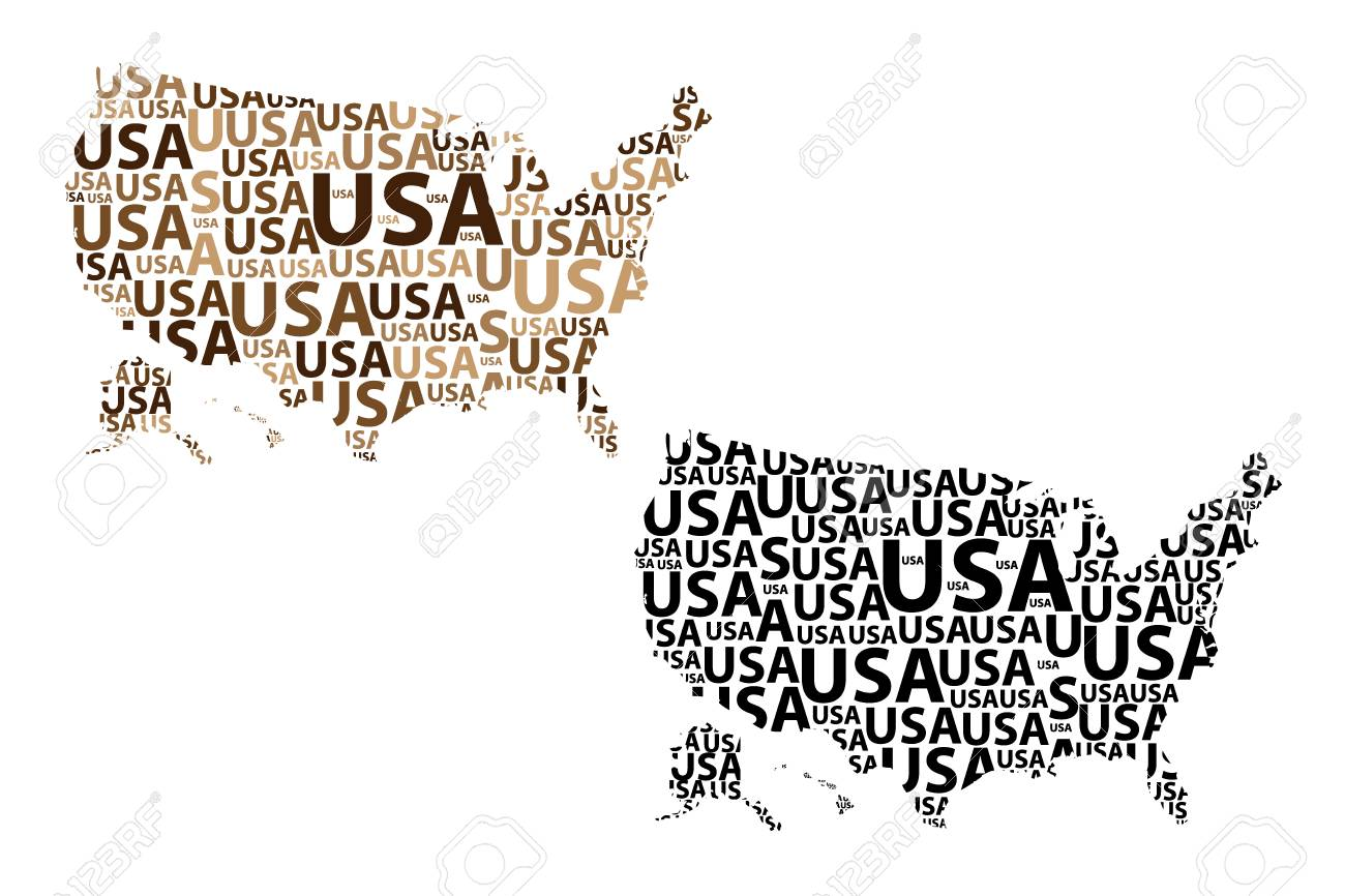 Sketch United States of America letter text map, USA - in the