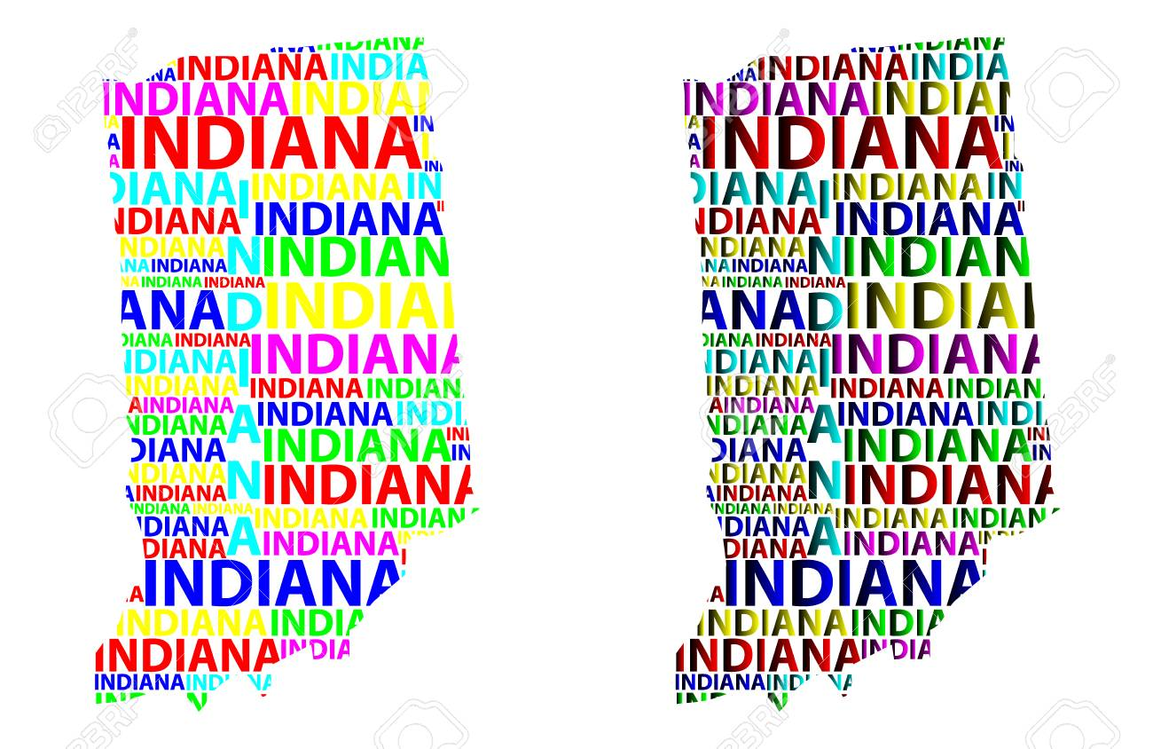 Indiana United States Map.Sketch Indiana United States Of America Letter Text Map Indiana