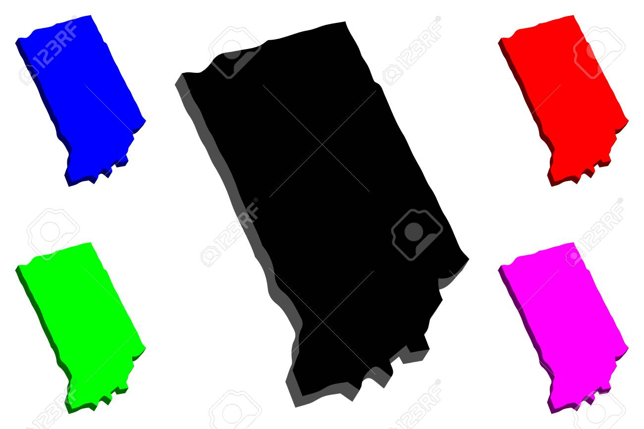 3d Map Of Indiana United States Of America Black Red Purple