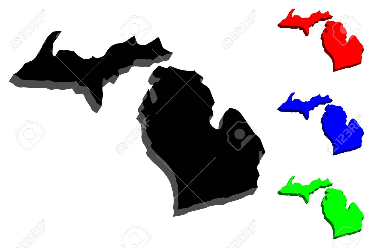 3D map of Michigan (United States of America, The Great Lake..