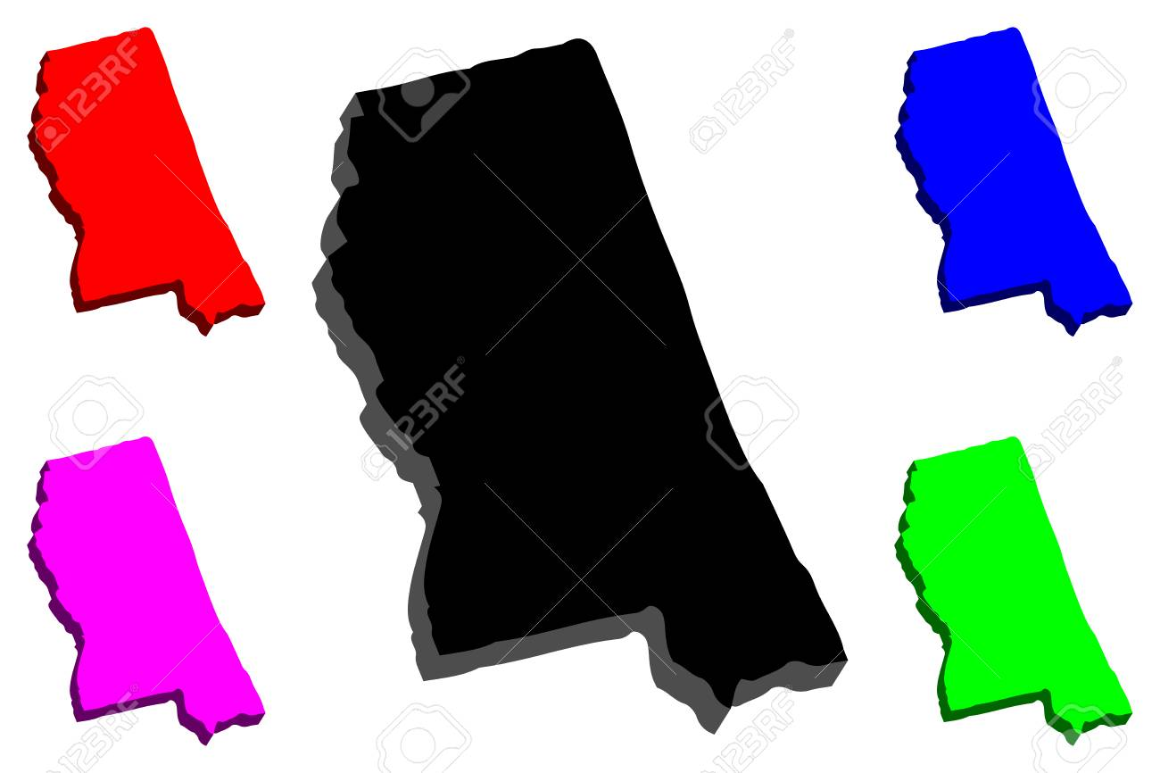Purple State Map.3d Map Of Mississippi United States Of America The Magnolia