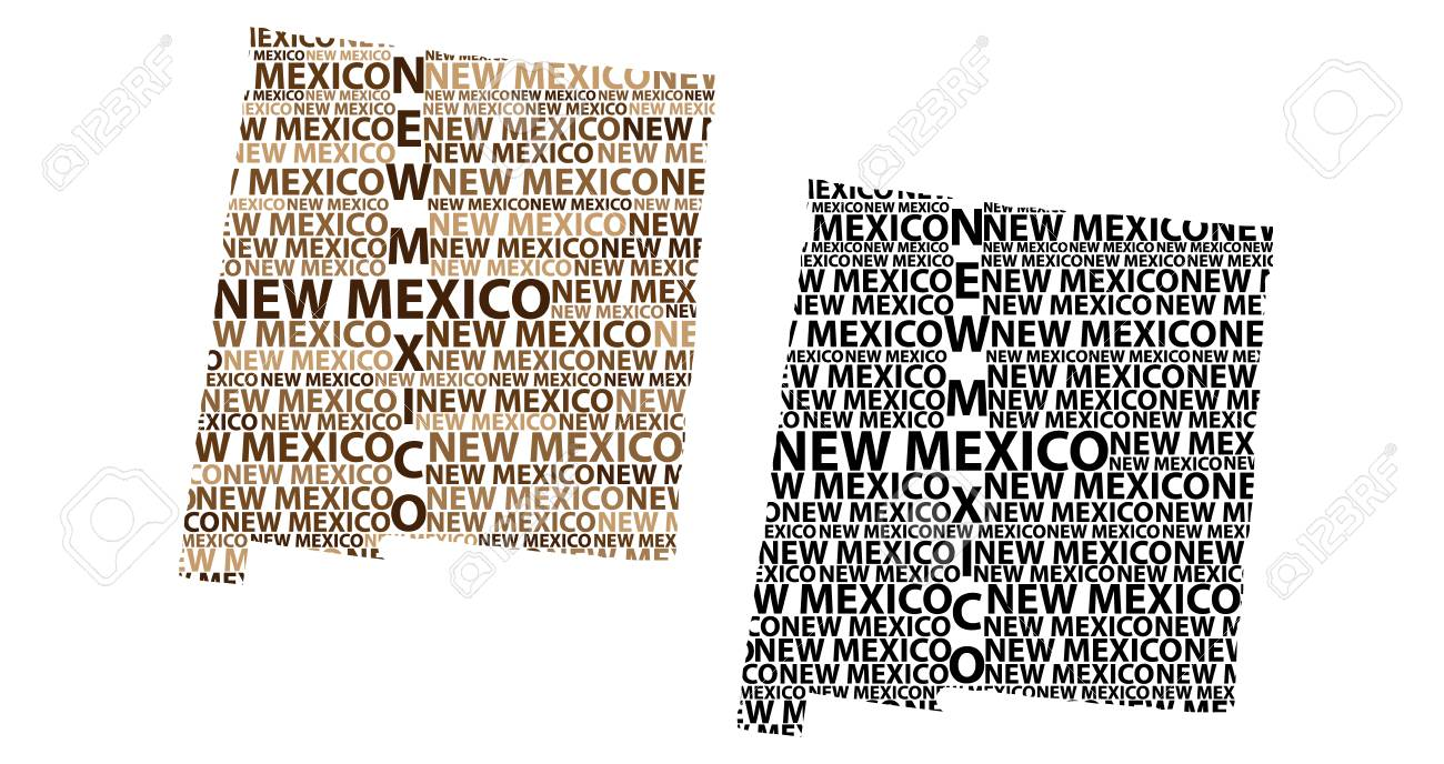 Sketch New Mexico (United States Of America) Letter Text Map ...