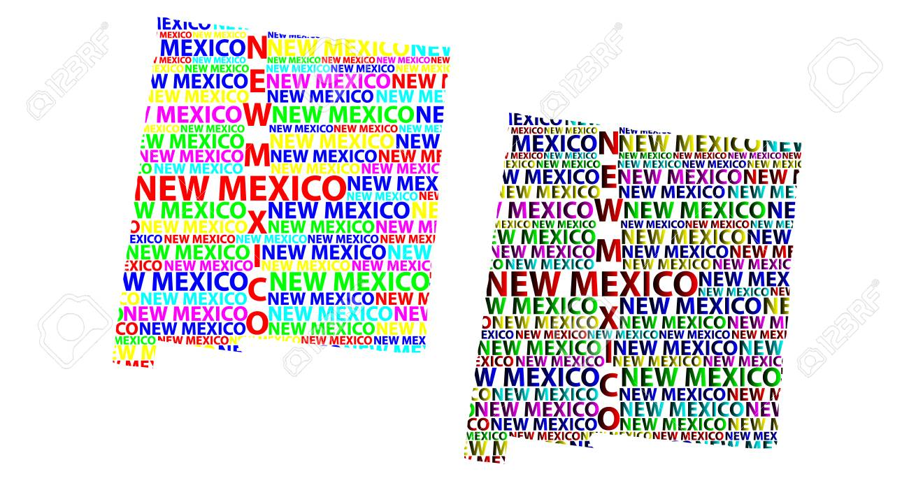 Sketch New Mexico (United States Of America) Letter Text Map, New ...