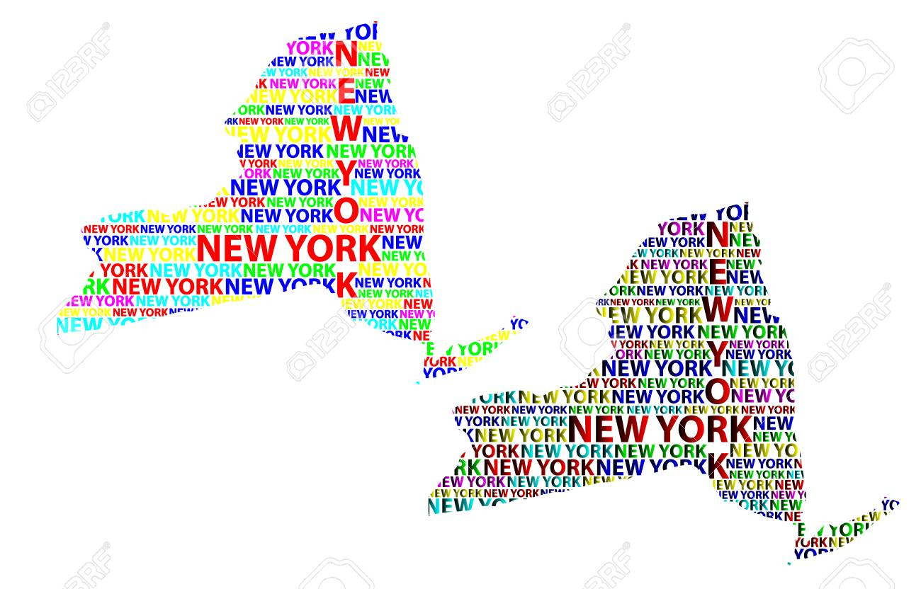 Map Of New York State And Surrounding States.Sketch New York United States Of America Letter Text Map New