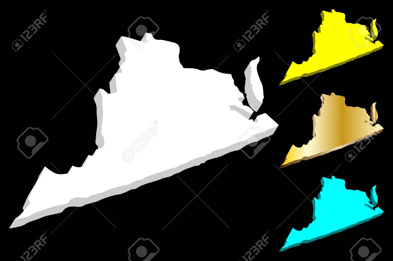 Virginia United States Map.3d Map Of Virginia United States Of America Commonwealth Of