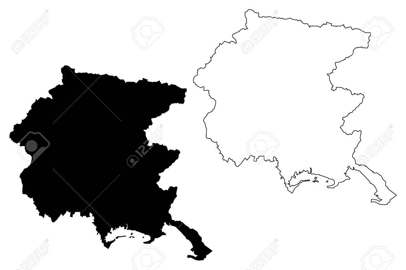 Friuli Venezia Giulia Autonomous Region Of Italy Map Vector