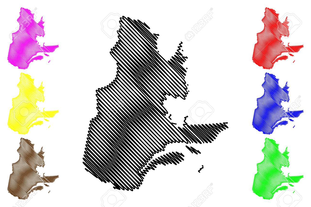 Quebec Provinces And Territories Of Canada Map Vector Illustration