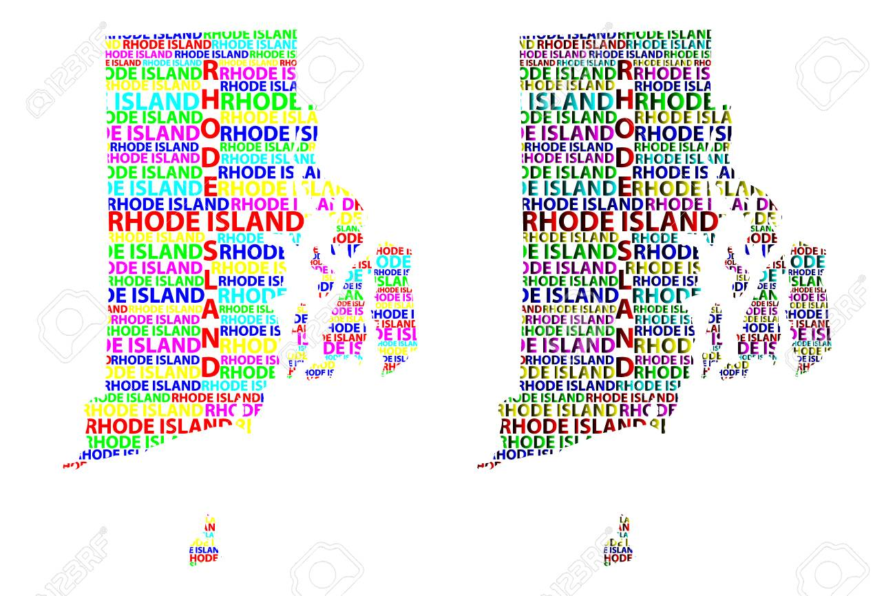 sketch rhode island united states of america letter text map