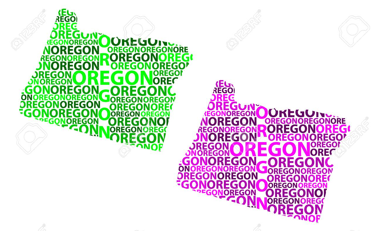 United States Map Oregon.Sketch Oregon United States Of America Letter Text Map Oregon