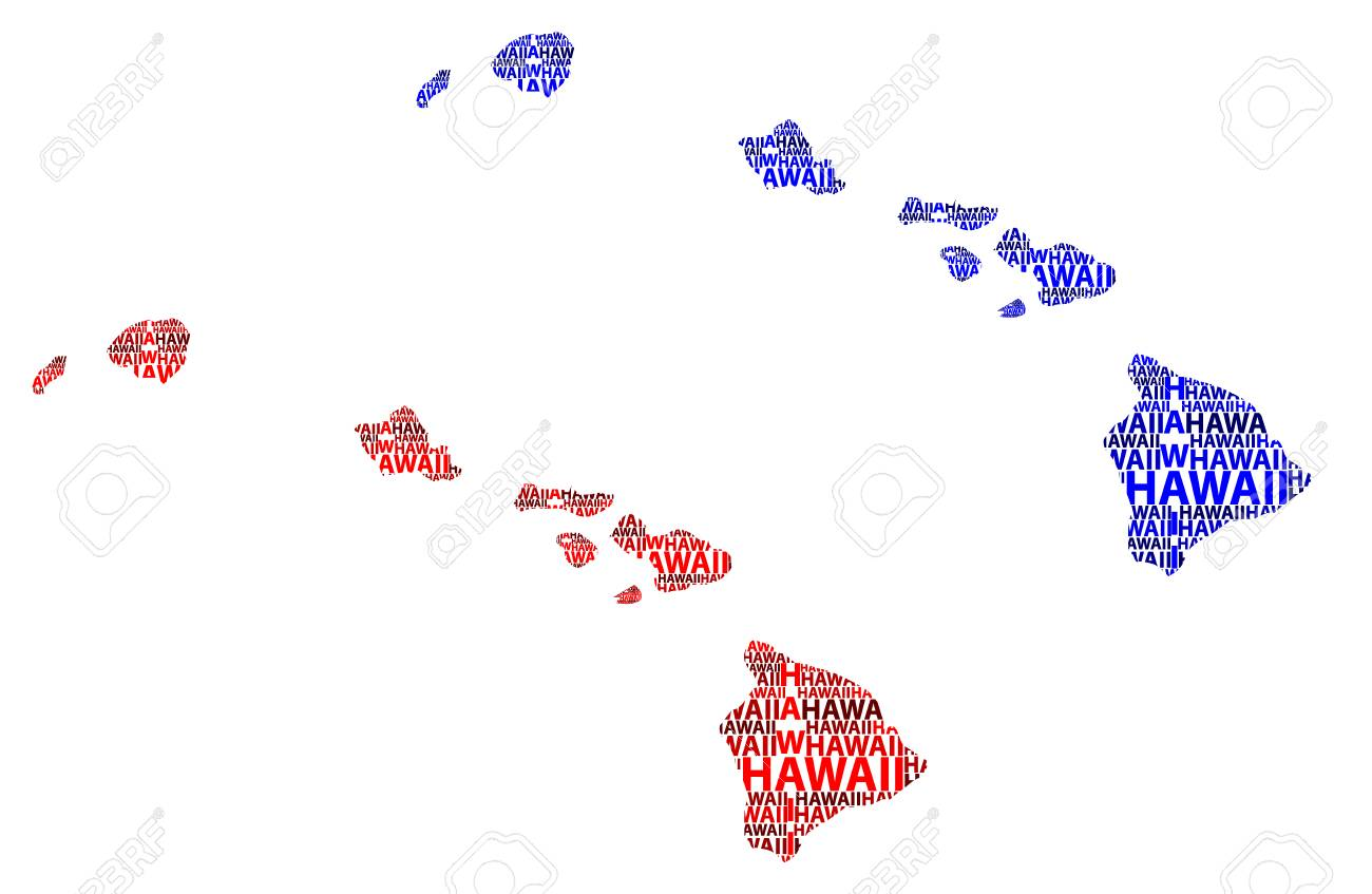 Sketch Hawaii (United States of America) letter text map, Hawaii..