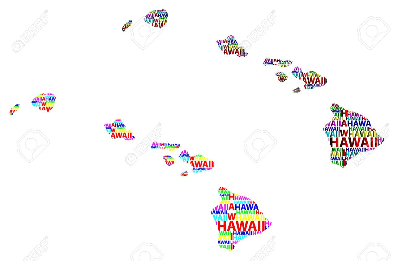 Sketch Hawaii (United States Of America) Letter Text Map, Hawaii ...