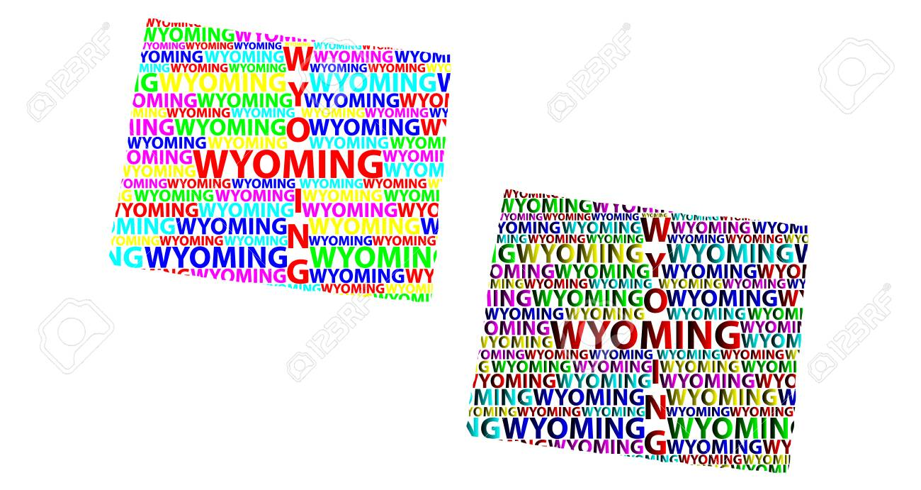 Sketch Wyoming United States Of America Letter Text Map Wyoming - Wyoming-us-map