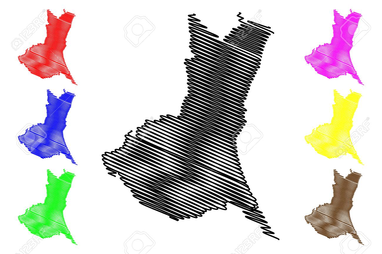 Ibaraki Prefecture (Administrative divisions of Japan, Prefectures of Japan) map vector illustration, scribble sketch Ibaraki map - 115345513