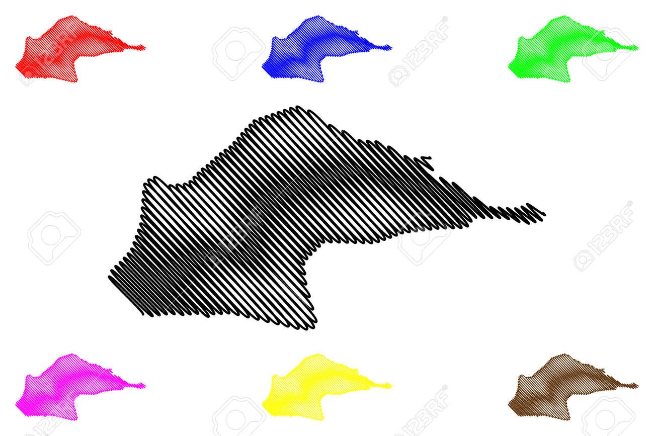 Me-Zochi District (Democratic Republic of Sao Tome and Principe, Saint Thomas and Prince) map vector illustration, scribble sketch Me Zochi map - 168920933