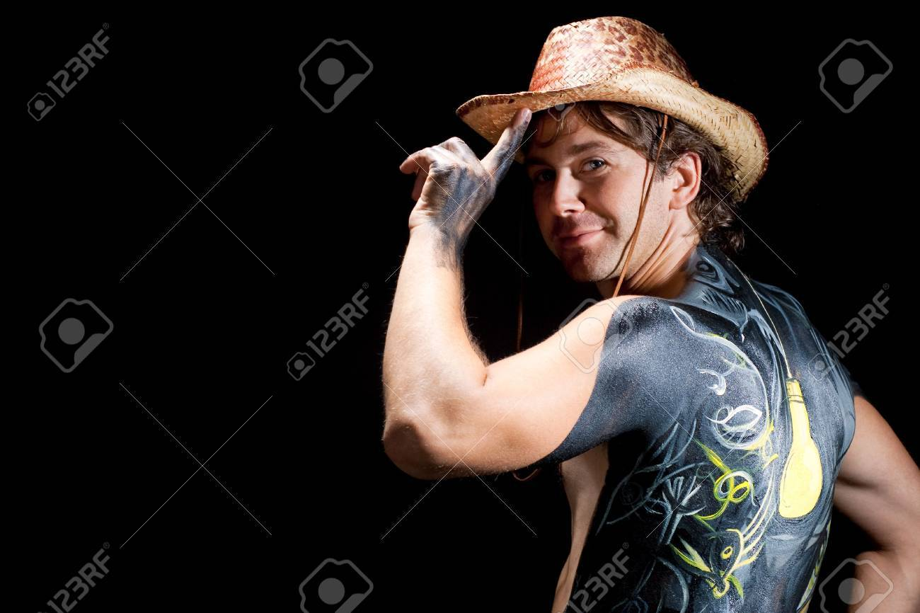 Man In Hat With Bodyart Body Art Isolated Stock Photo Picture And Royalty Free Image Image 6171196