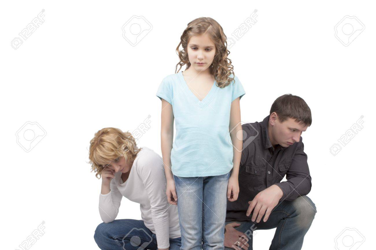 father and mother misunderstand their teenage girl standing separated from each other needed support and dialog isolated over white background Stock Photo - 13522764