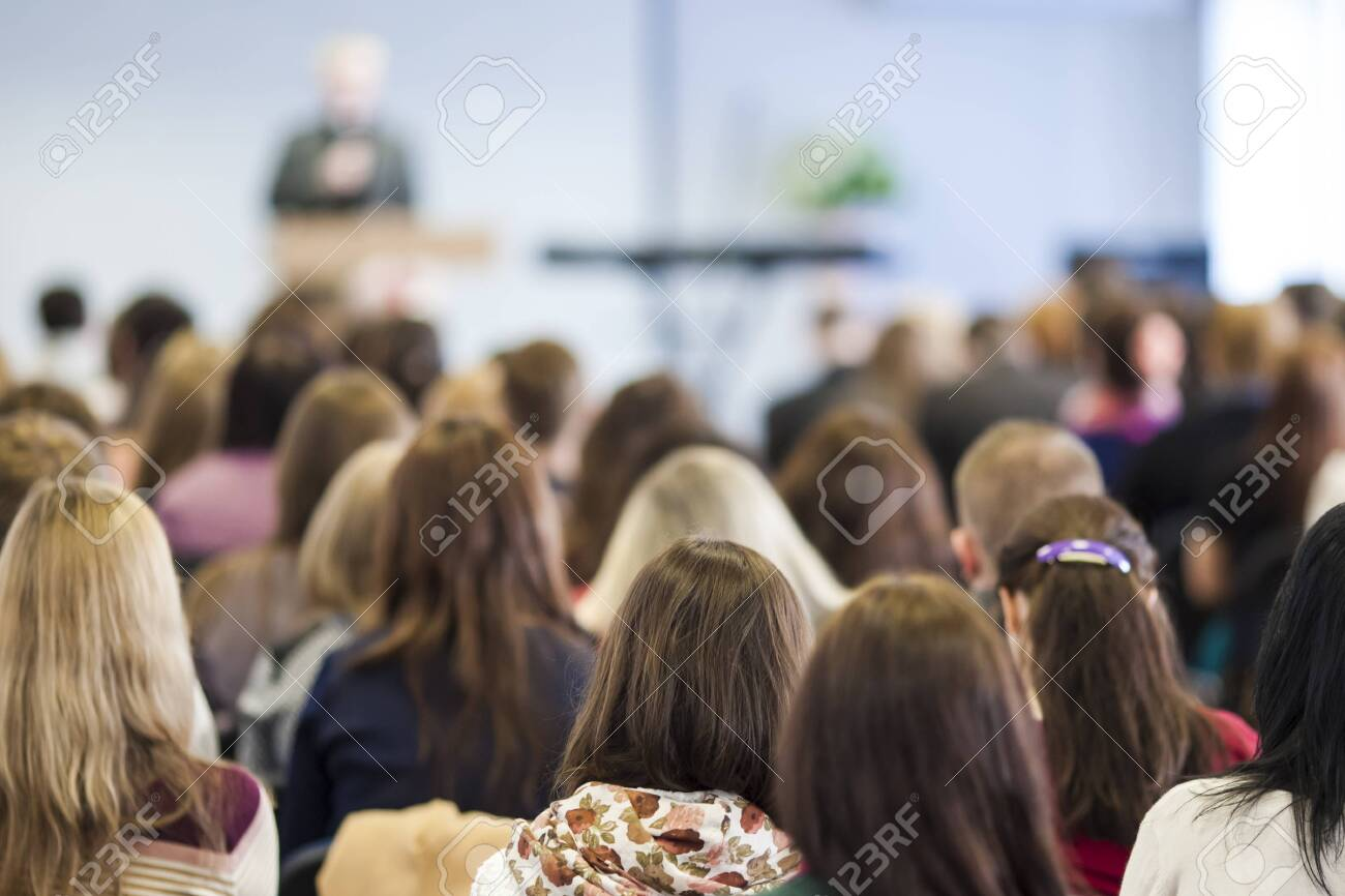 Male Lecturer Speaking In Front of the Audience During The Conference. Horizontal Image Composition - 156346326
