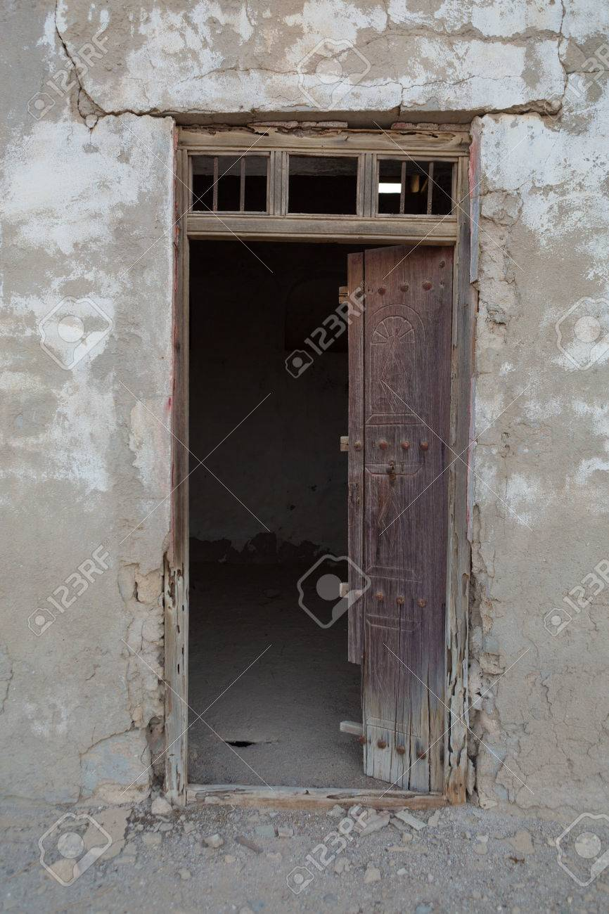 Traditional Weathered Wooden Door Frame Old Ras Al Khaimah