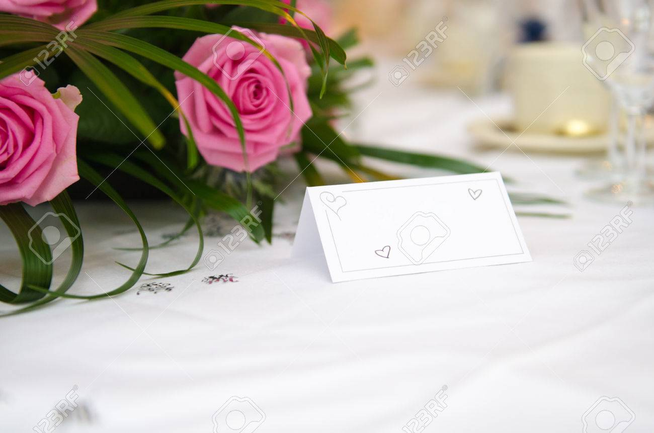 An Empty Blank Paper Table Card Name Plate Sign On A Wedding Stock