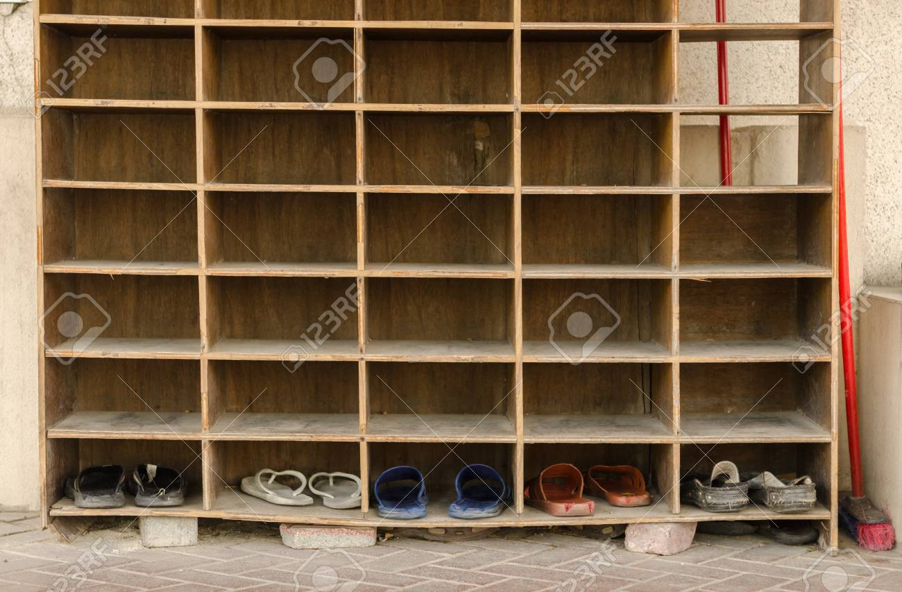 Relatively A Wooden Shoe Rack Outside A Islamic Mosque In The Middle East  KC52