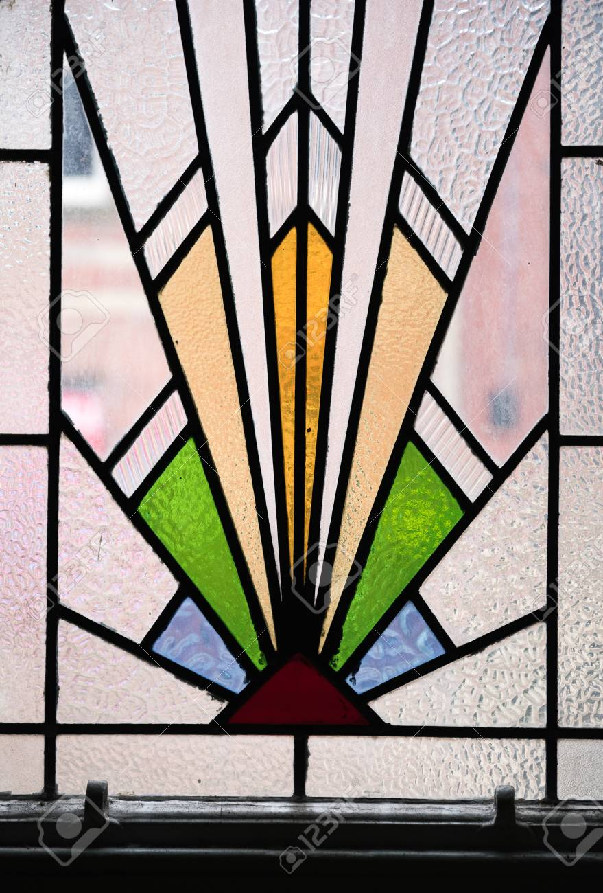 Stained Glass Window Art.A Beautiful Bright Art Deco Stained Glass Decorative Window Panel
