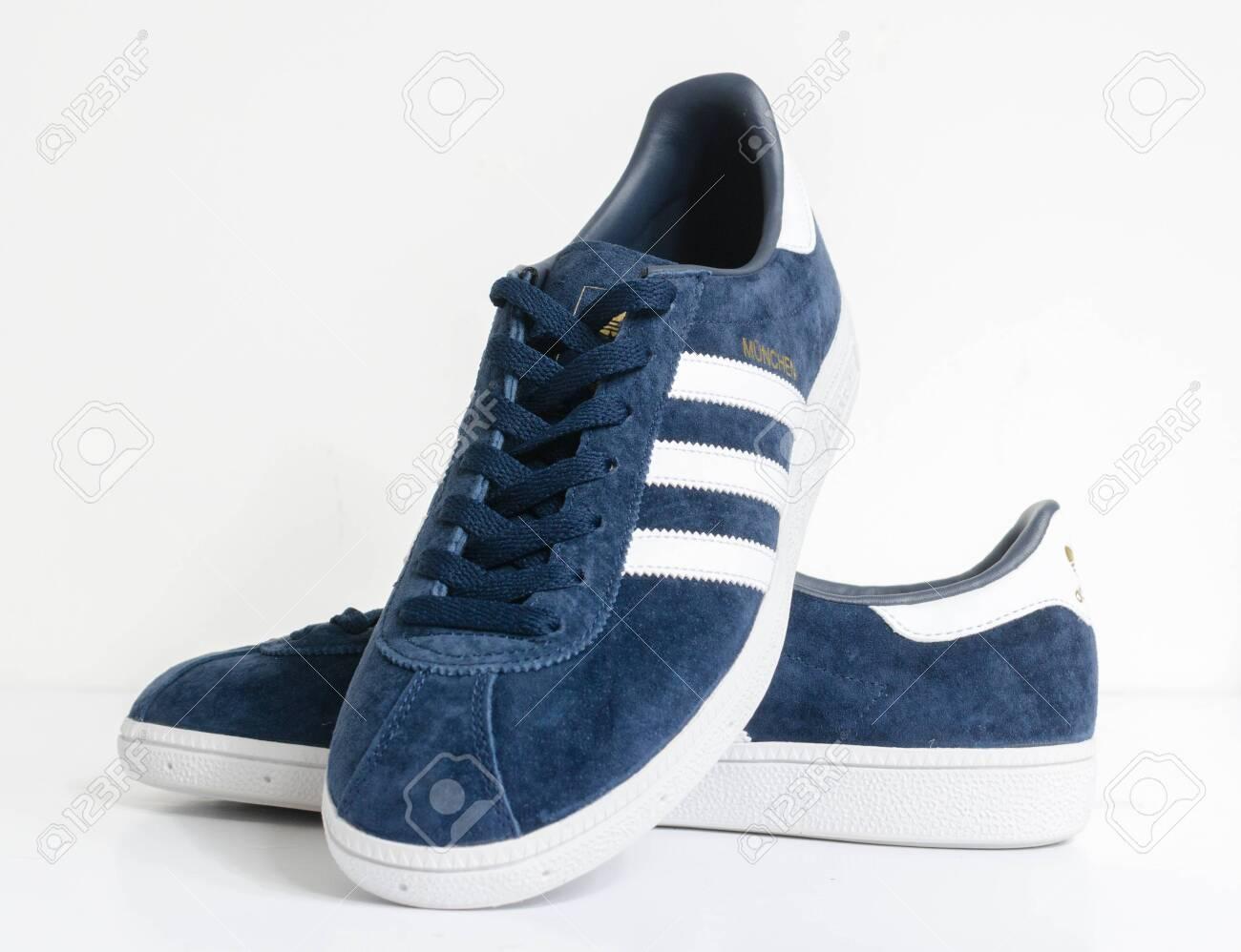london, england, 05/05/2018 Adidas Munchen gazelle vintage sneaker..