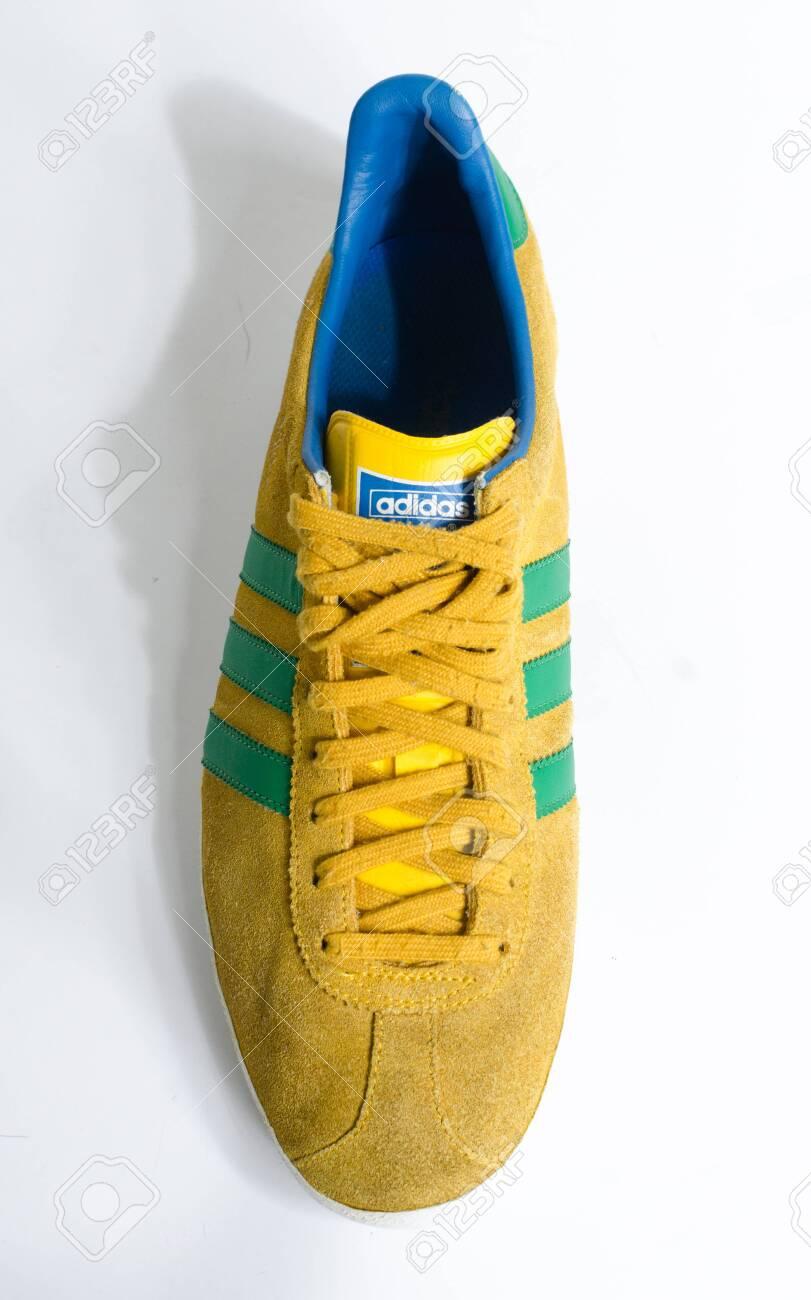 london, england, 05/05/2018 Adidas Gazelle Mustard Gold & Green..