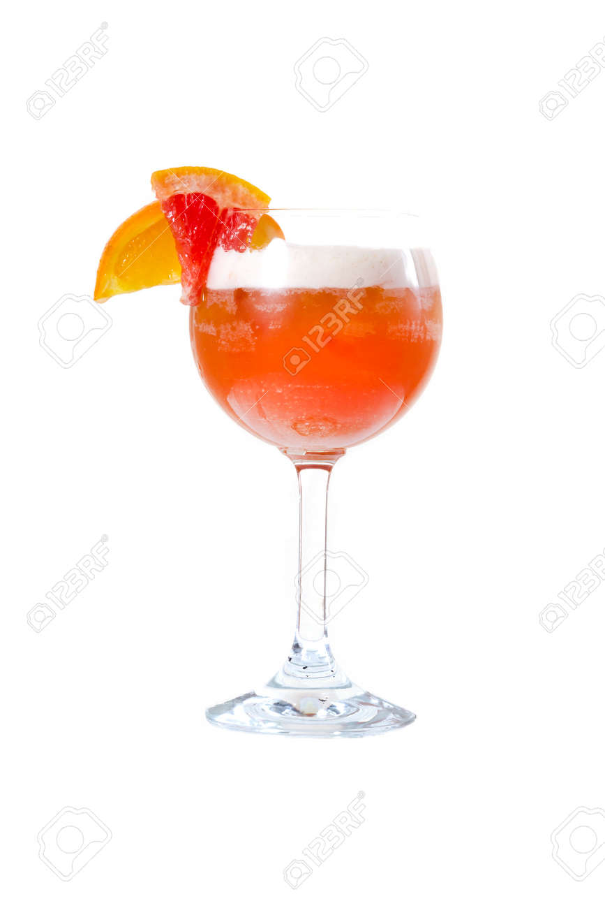 Orange cocktail with orange on the edge of the glass - 126898308