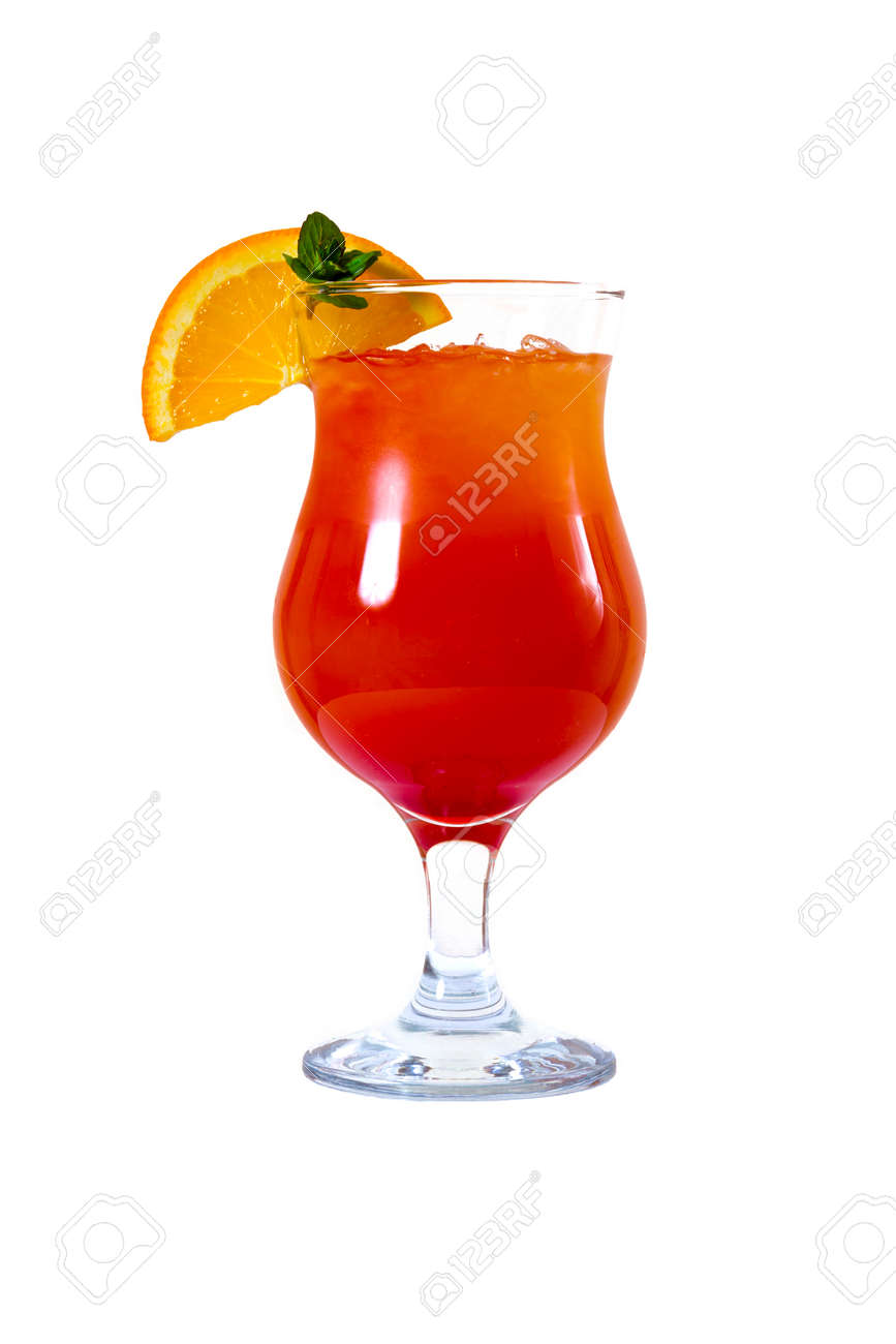 Orange cocktail with orange on the edge of the glass - 126898310