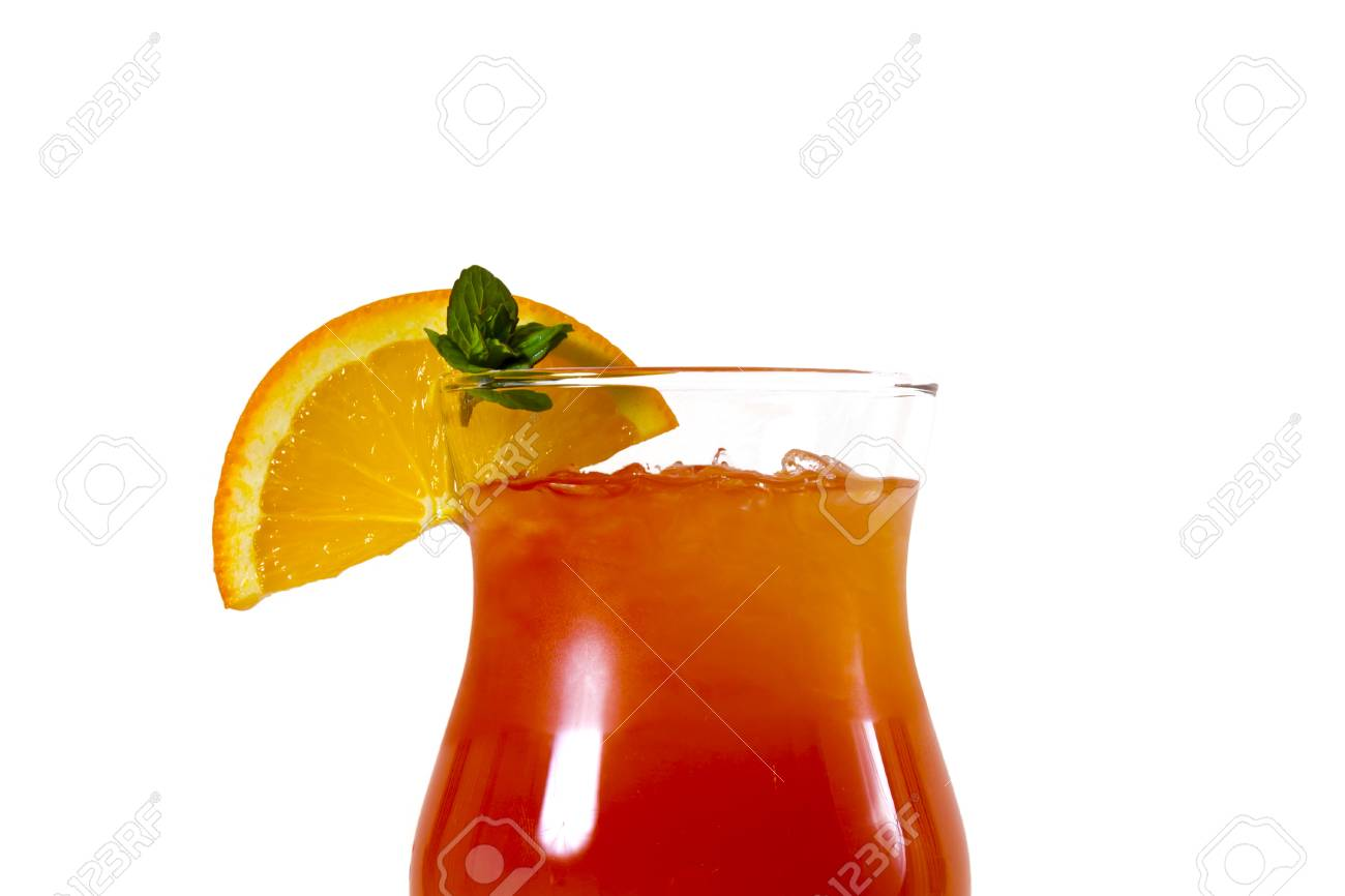 Orange cocktail with orange on the edge of the glass - 126898312