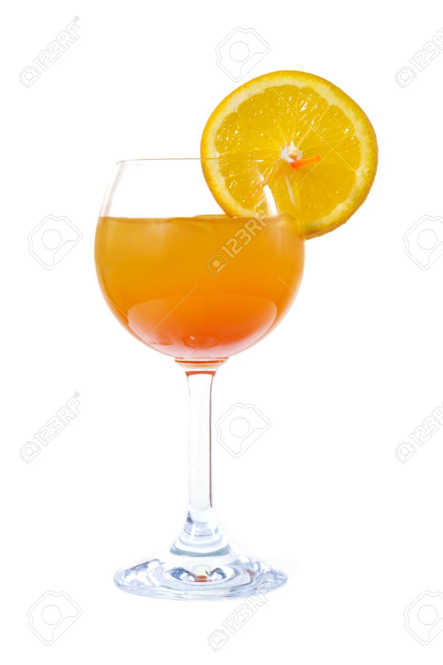 Orange cocktail with orange on the edge of the glass - 126898315