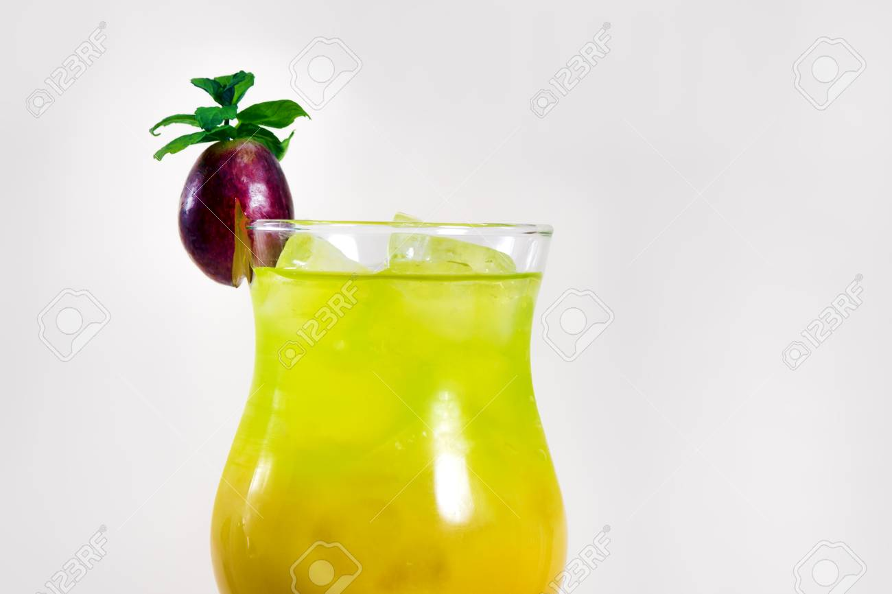 Cocktail Drink. Green cocktail with grape. - 126898316