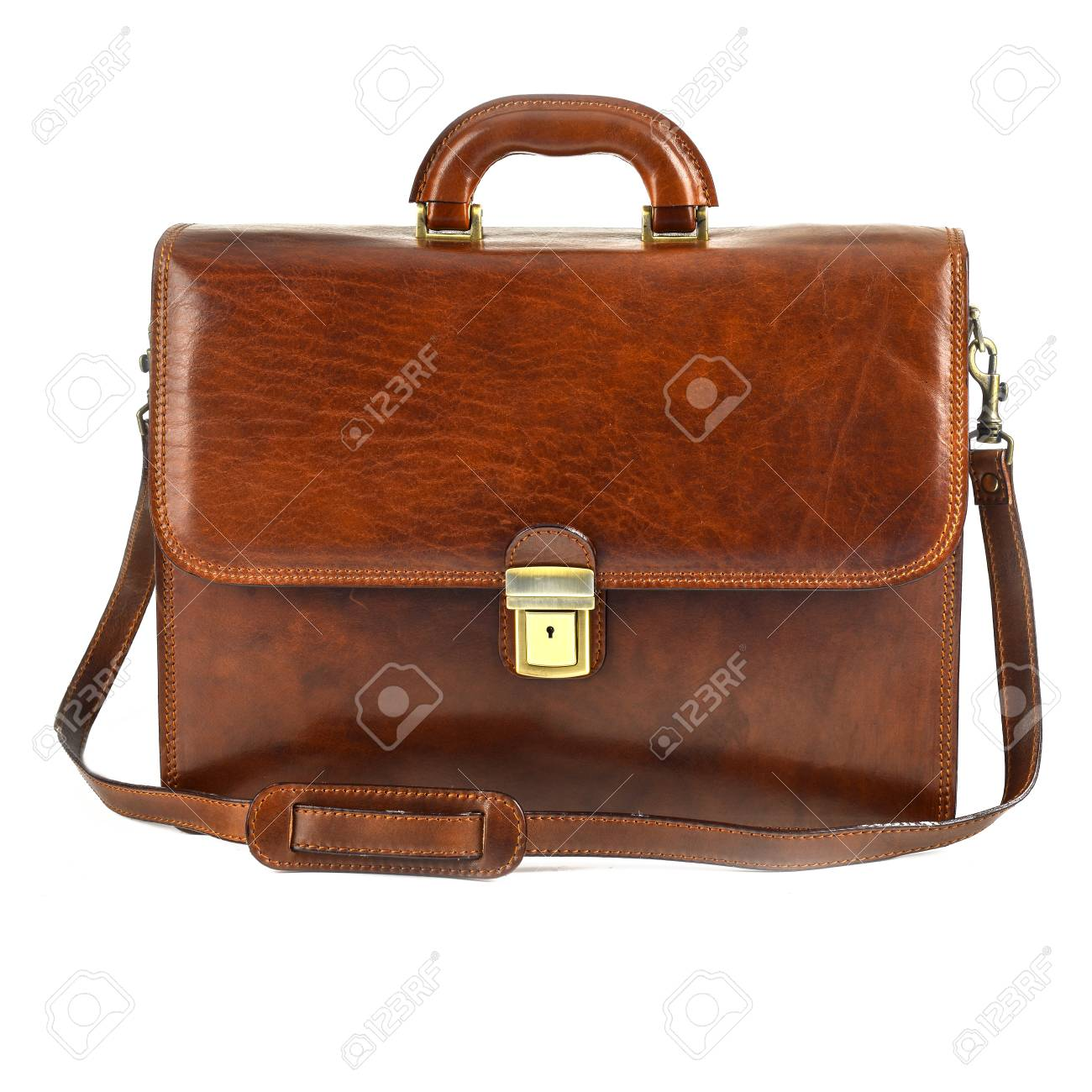 f34f1aa6e Brown elegant, modern leather briefcase with Professional Style isolated on  white background Stock Photo -