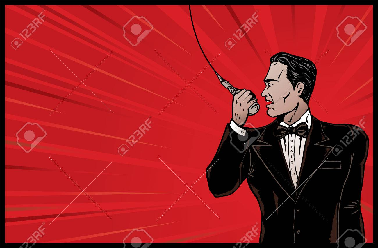 Announcer from olden days. Stock Vector - 3614906