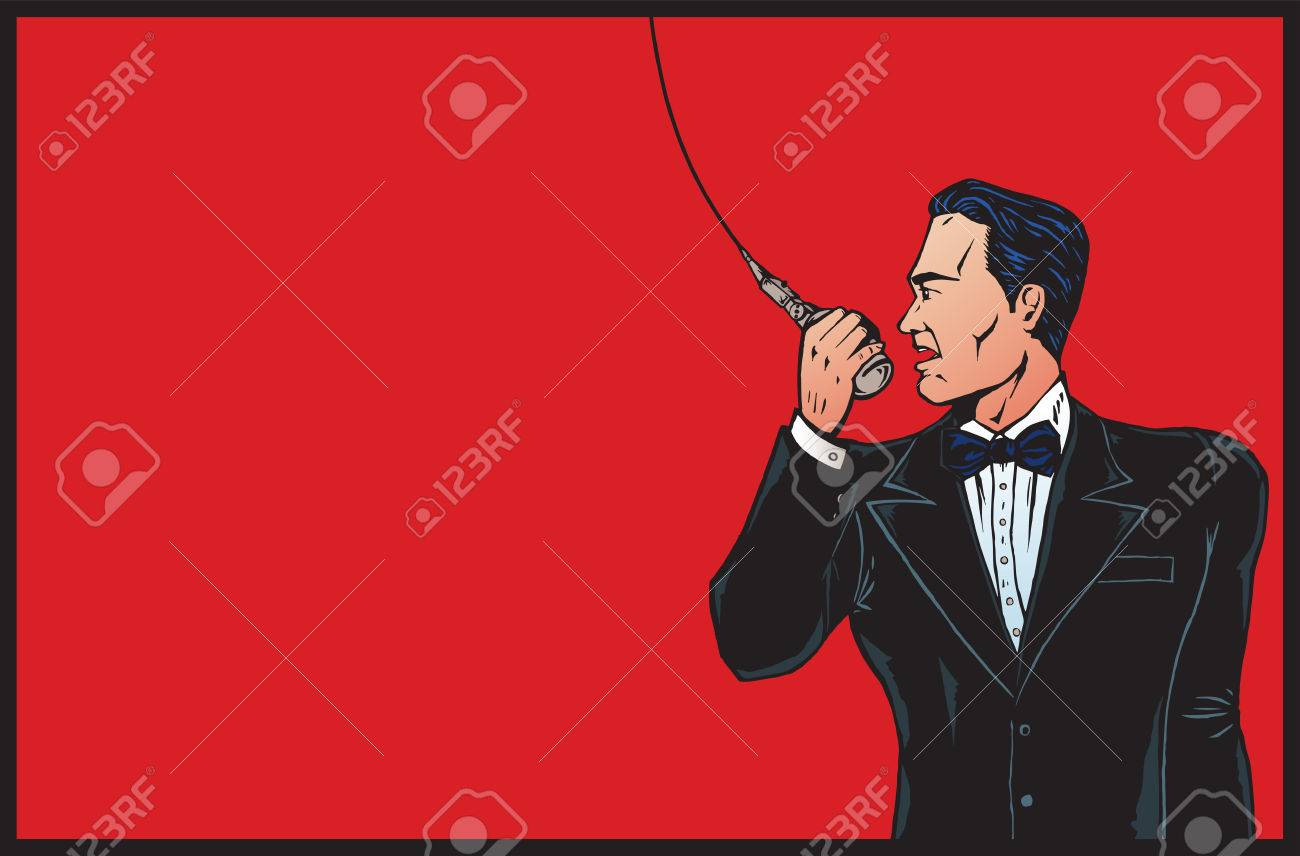 Announcer from olden days in colour. Stock Vector - 3614908