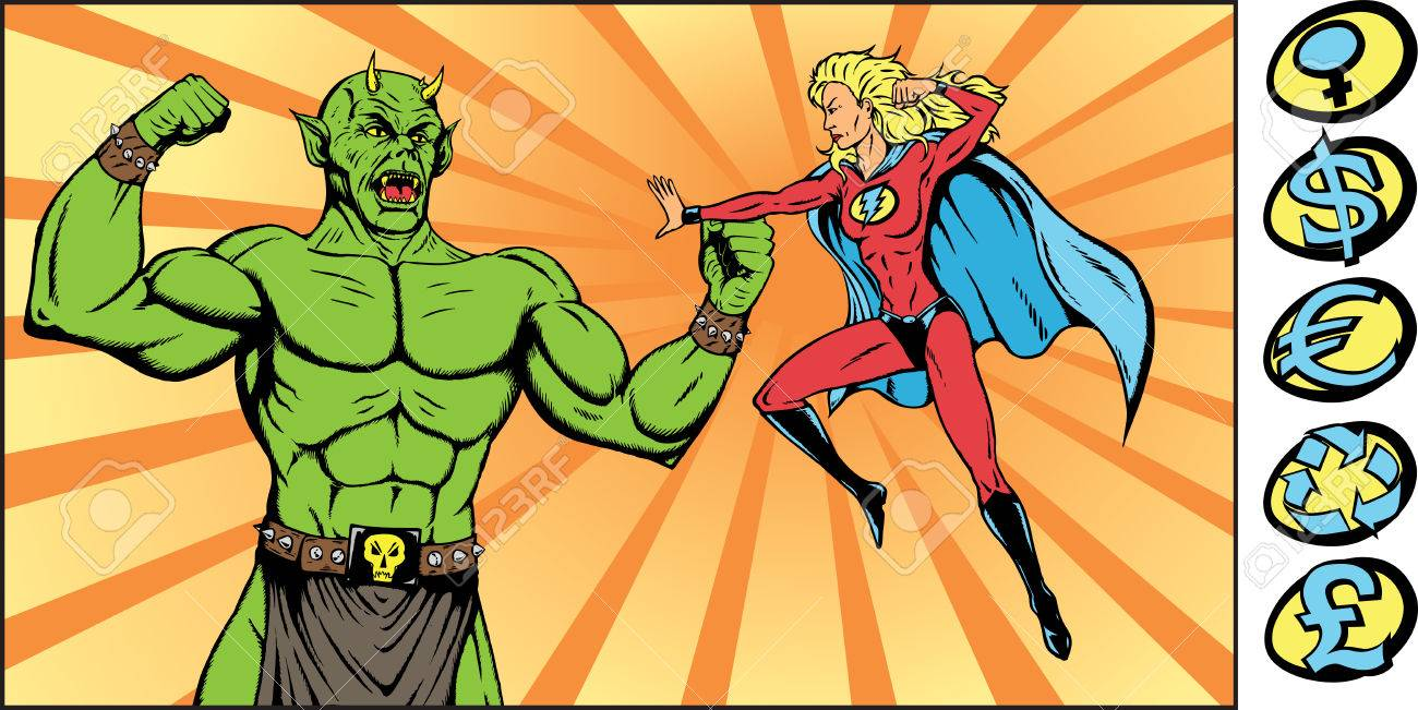 Superheroine battling a monstrous bad guy. Part of a series. Stock Vector - 4047599