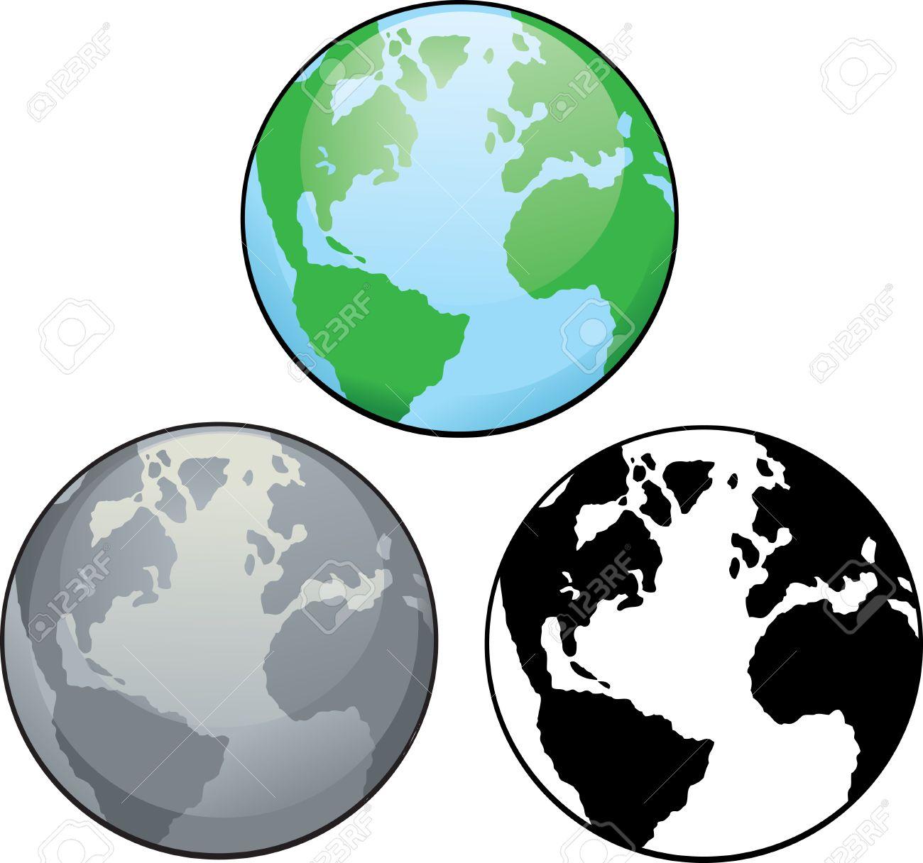 Différents Dessins De La Planète Terre De La Couleur En Noir Et