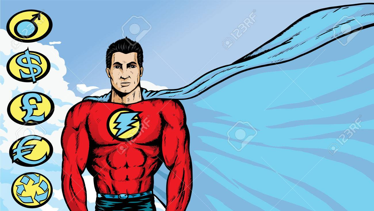 Asian Superhero where any text or image can be put on flowing cape. With .eps, crests are on a separate layer, and can be moved/removed. Stock Vector - 7773807