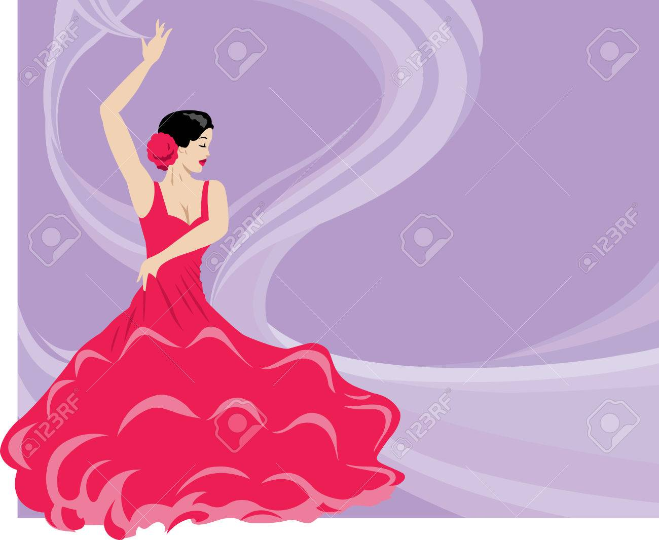 A Flamenco Dancer On A Flowing Background. Royalty Free Cliparts ...